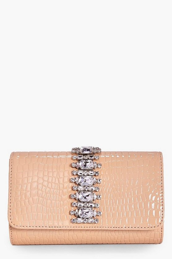 Tia Jewel Embellished Croc Cross Body Bag