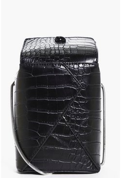 Libby Structured Mock Croc Box Cross Body Bag