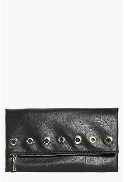 Eve Fold Over Eyelet Zip Clutch Bag