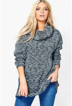 Holly Salt & Pepper Roll Neck Chunky Tunic