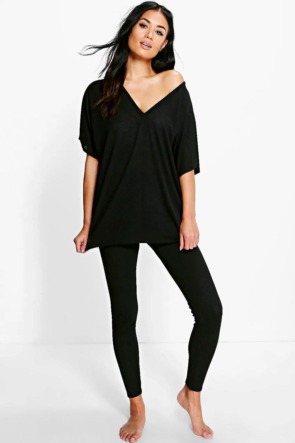 Boohoo Womens Olivia Oversized T-Shirt u0026 Leggings Loungewear | eBay