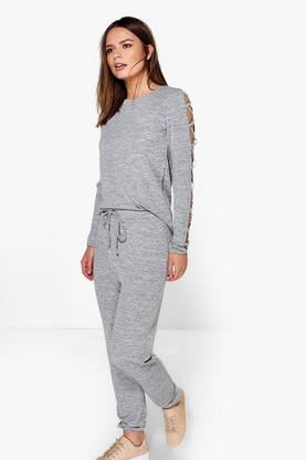 Lily Strappy Sleeve Top & Jogger Loungewear Set
