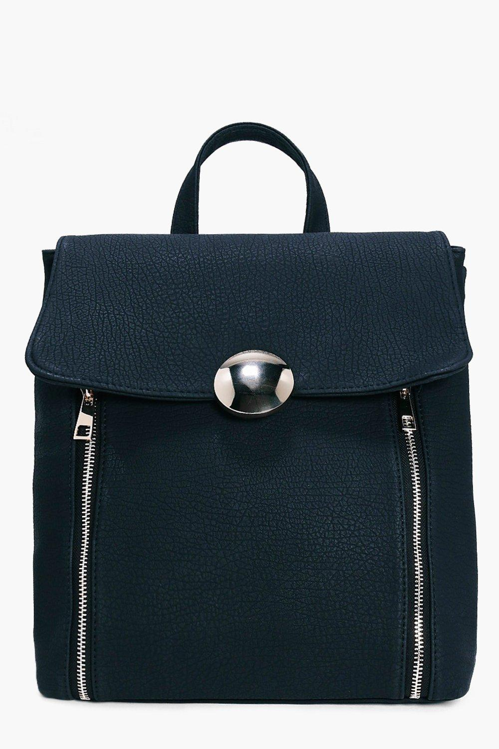 Large Circle Clasp Zip Detail Backpack - black - T