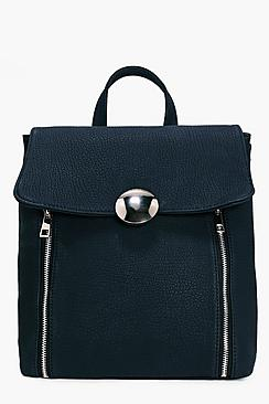Zoe Large Circle Clasp Zip Detail Backpack