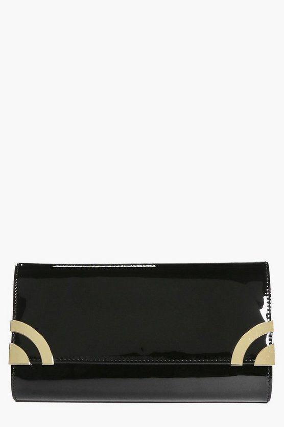 Bella Patent Metal Corner Clutch Bag