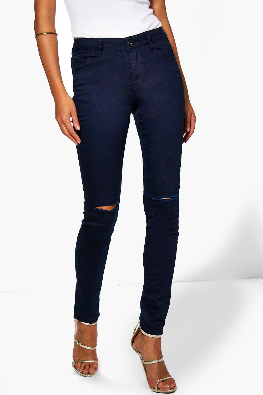 Mid Rise Split Knee Skinny Jeans navy
