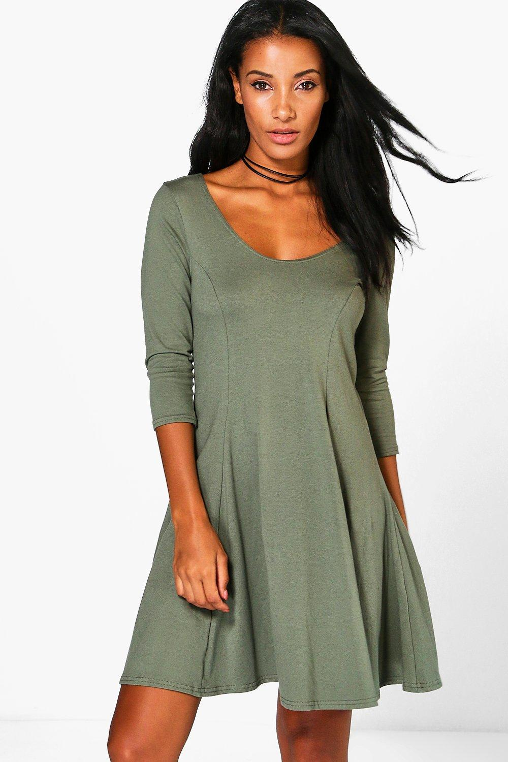 Sara Basic Seam Skater Dress