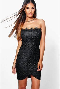 Eve Floral Lace Bandeau Bodycon Dress