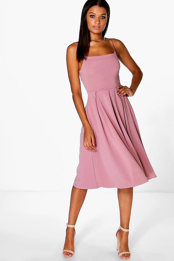 Ava Strappy Square Neck Skater Dress