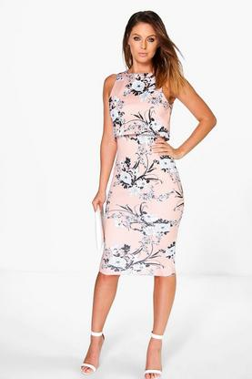 Iva Floral Double Layer Midi Dress