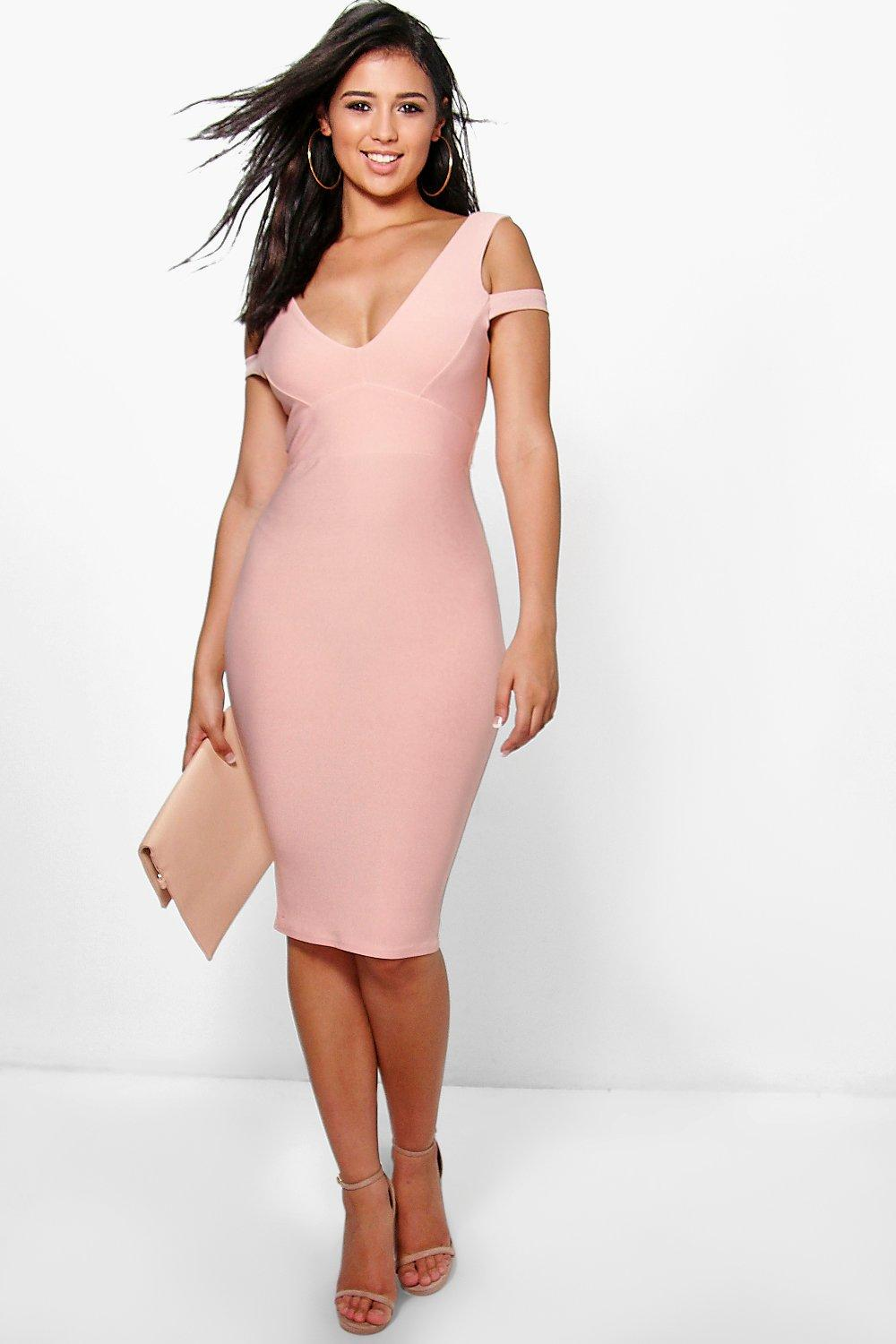 Bo Plunge Open Shoulder Bodycon Dress