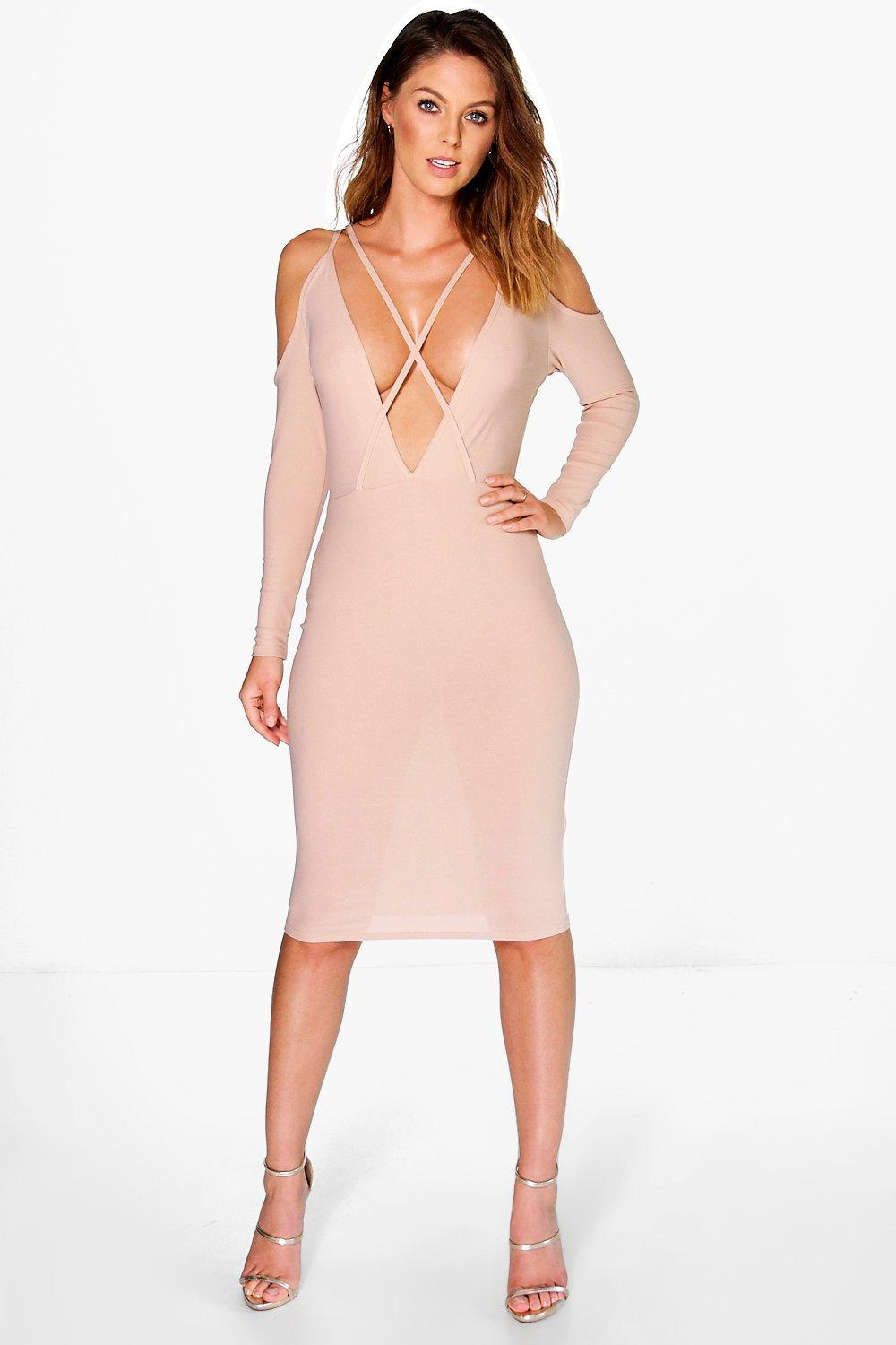Ria Strappy Open Shoulder Bodycon Dress