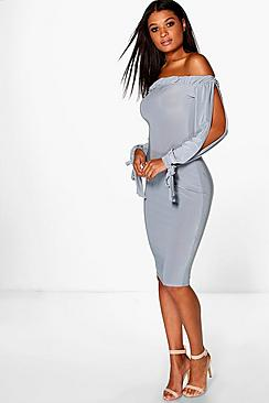 Ari Off Shoulder Split Sleeve Bodycon Dress