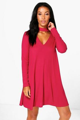 Eloise Choker Rib Knit Swing Dress