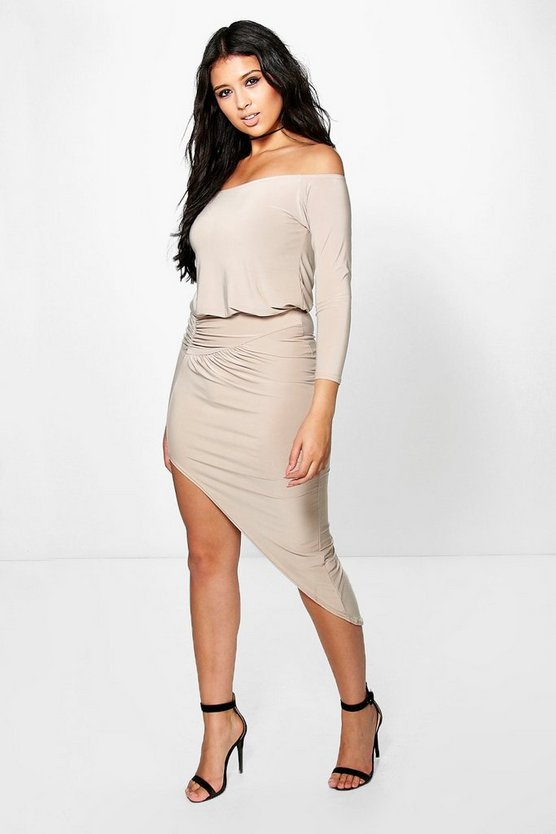 Ash Off Shoulder Long Sleeve Midi Dress