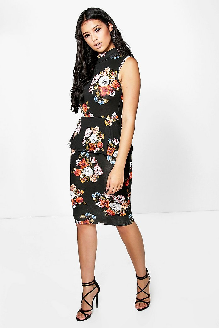 Ita High Neck Floral Peplum Midi Dress