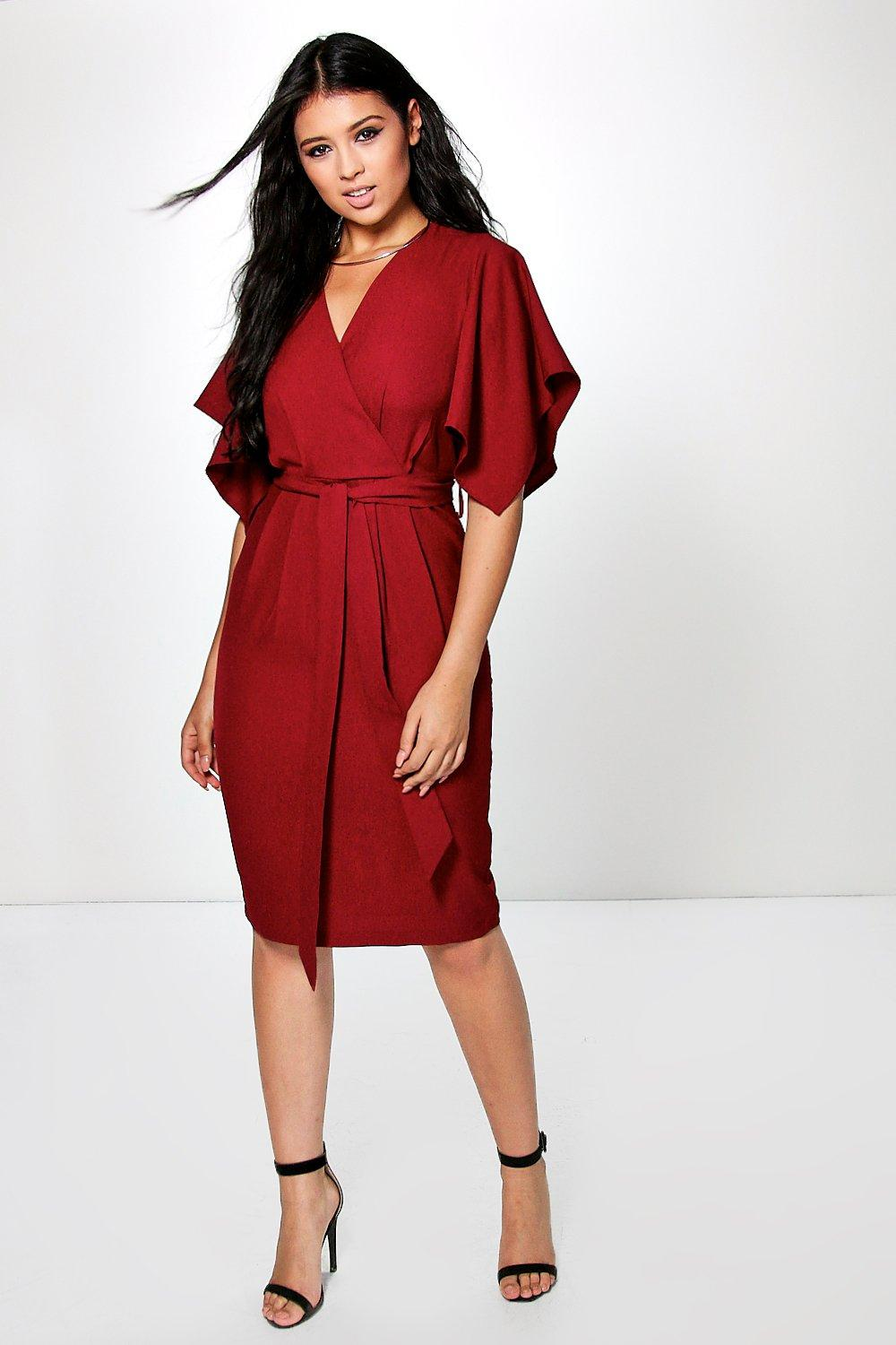 Woven Wrap Tie Dye Midi Dress  wine