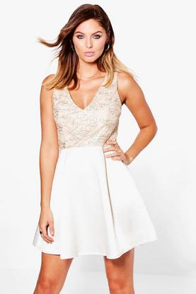 Boutique Ava Embroidery Top Skater Dress