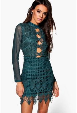 Boutique Suri Lace Scallop Bodycon Dress