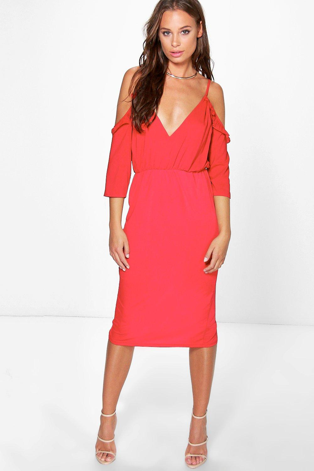 Emma Satin Frill Open Shoulder Midi Dress
