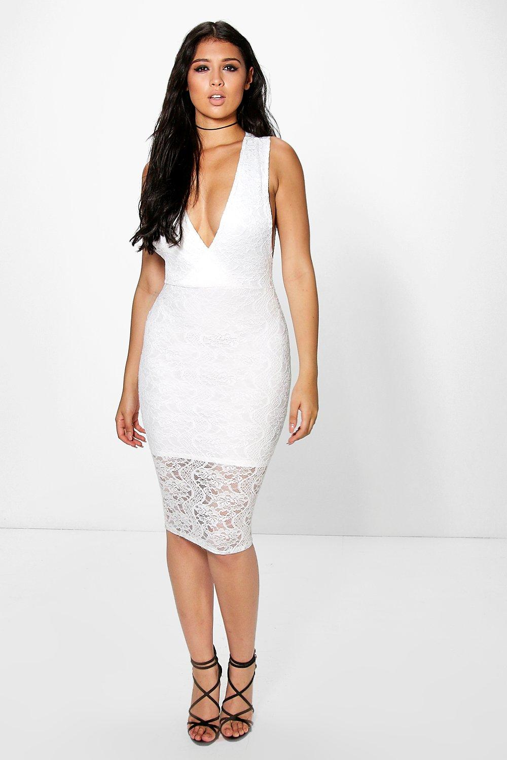 Ally Lace Wrap Front Midi Dress