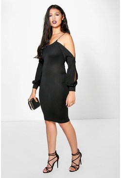 Una Split Bow Sleeve Midi Dress
