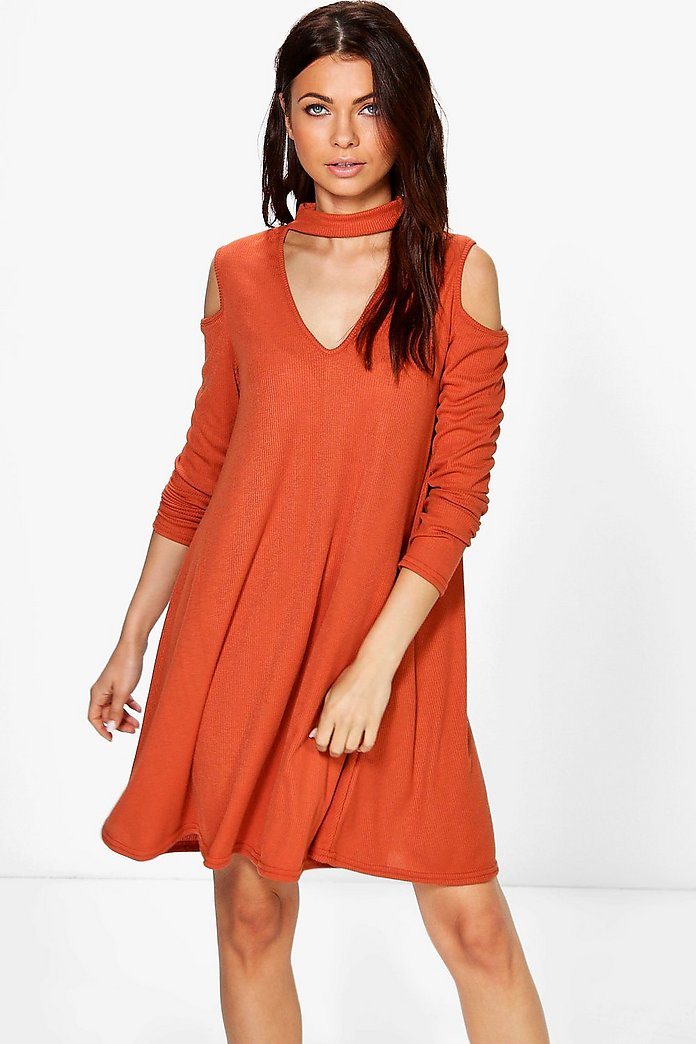 Olivia Cold Shoulder Choker Rib Knit Swing Dress