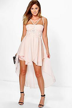 Alessia Lace Top Strappy Skater Dress