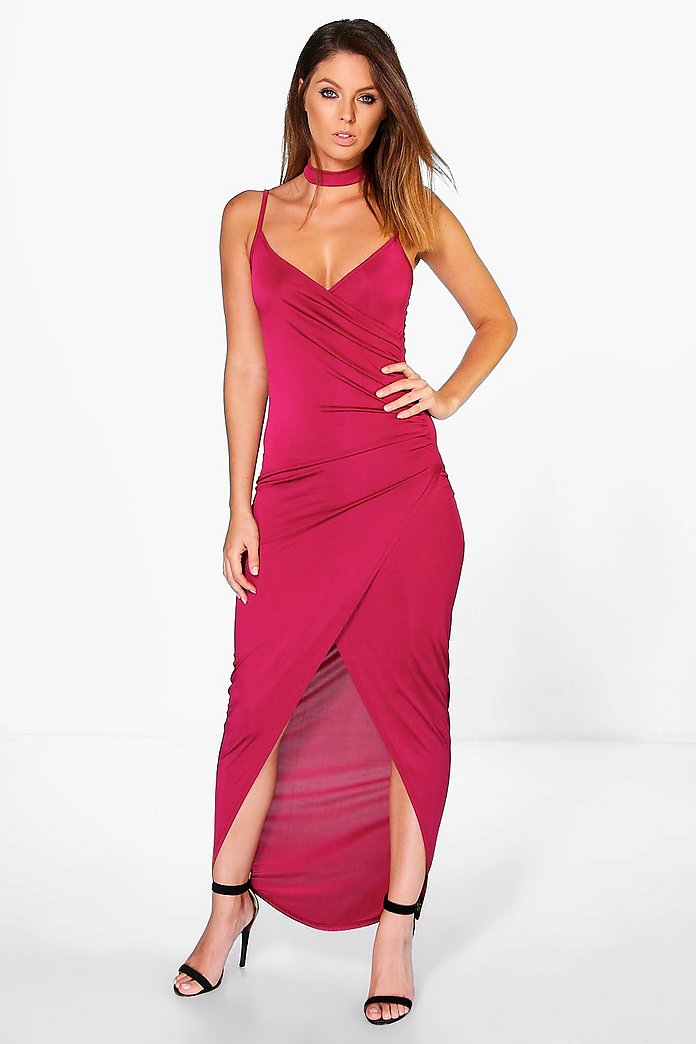 Vaida Slinky Wrap Choker Maxi Dress