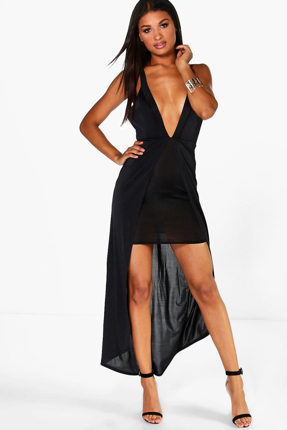 Brianna Slinky Plunge Neck Maxi Dress