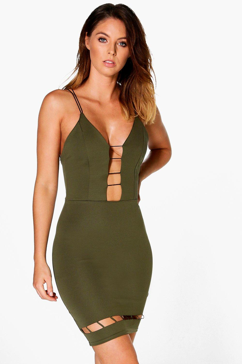 Jaclyn Cage Strappy Bodycon Midi Dress