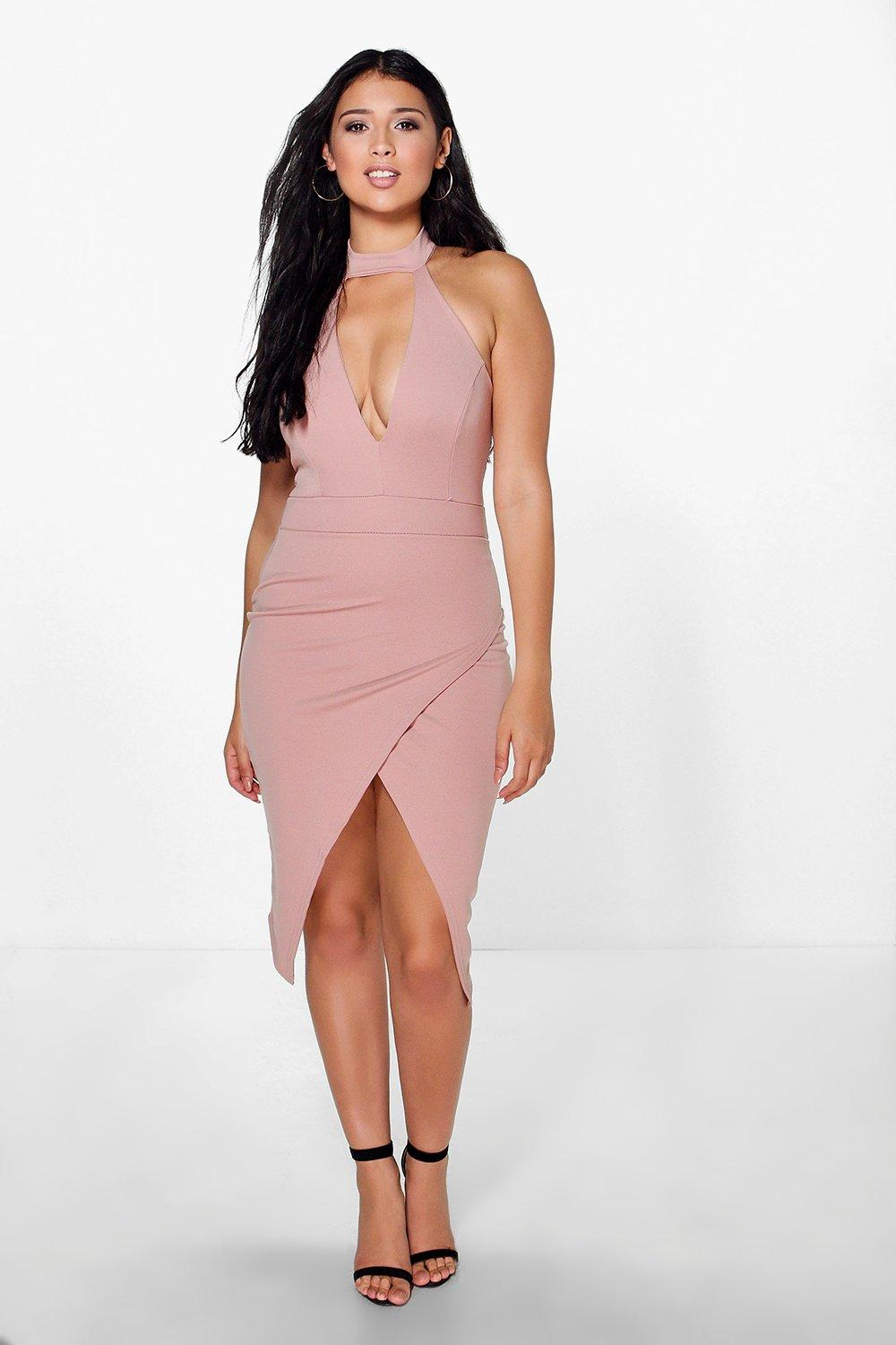 Hanalei High Neck Tie Plunge Midi Dress