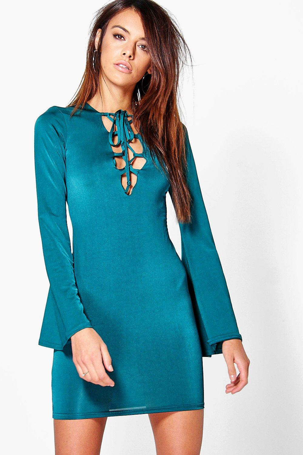 Willa Lace Up Flared Sleeve Bodycon Dress