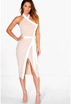 Bekki High Neck Wrap Tie Contrast Midi Dress