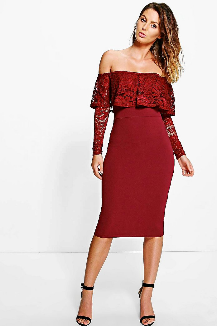Di Lace Off Shoulder Midi Bodycon Dress