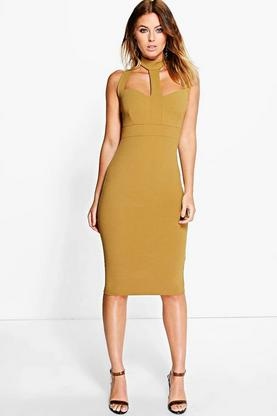 Em Strappy Choker Midi Bodycon Dress