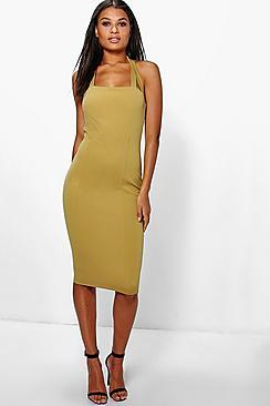 Daisy Halterneck Midi Bodycon Dress