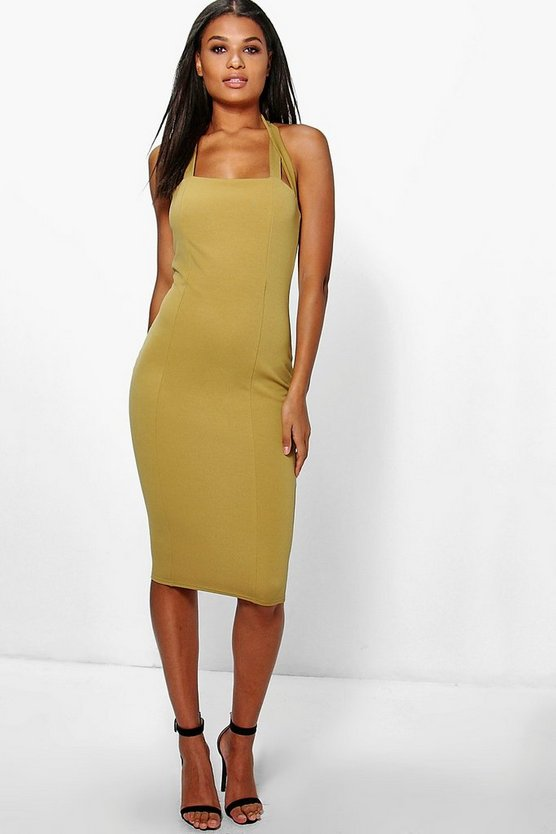 Daisy Halterneck Midi Bodycon Dress