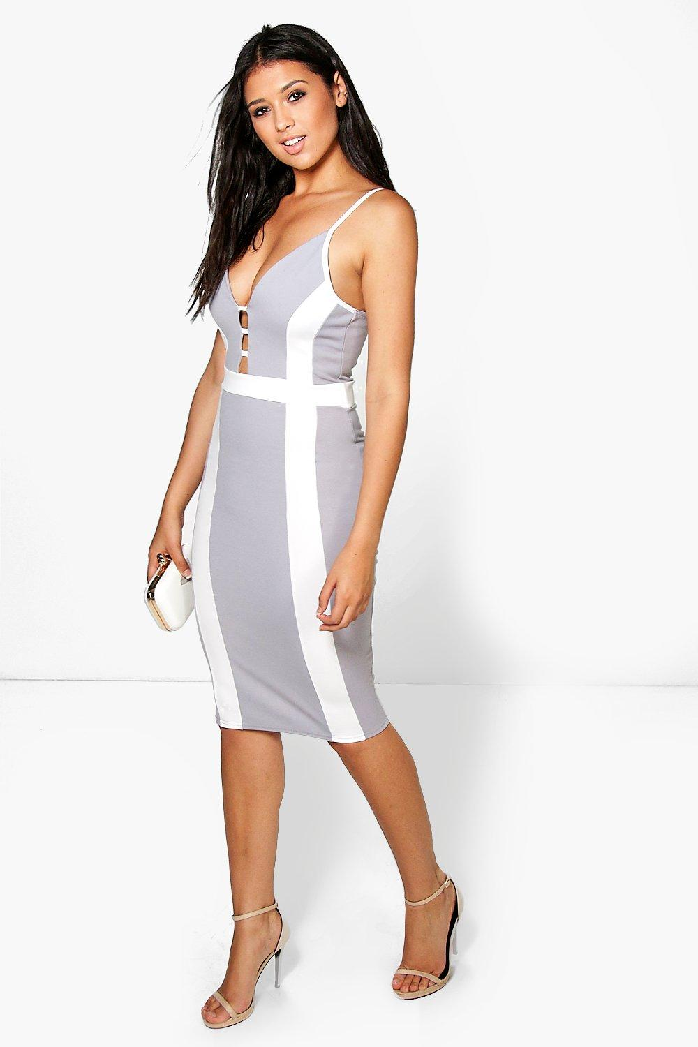 Emma Contrast Panel Midi Bodycon Dress