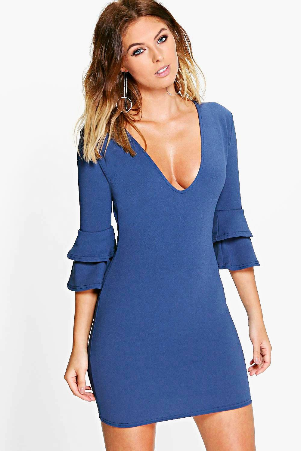 Sara Plunge Frill Sleeve Bodycon Dress