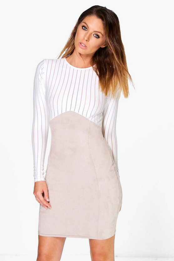 Katy Mesh Suedette Bodycon Dress