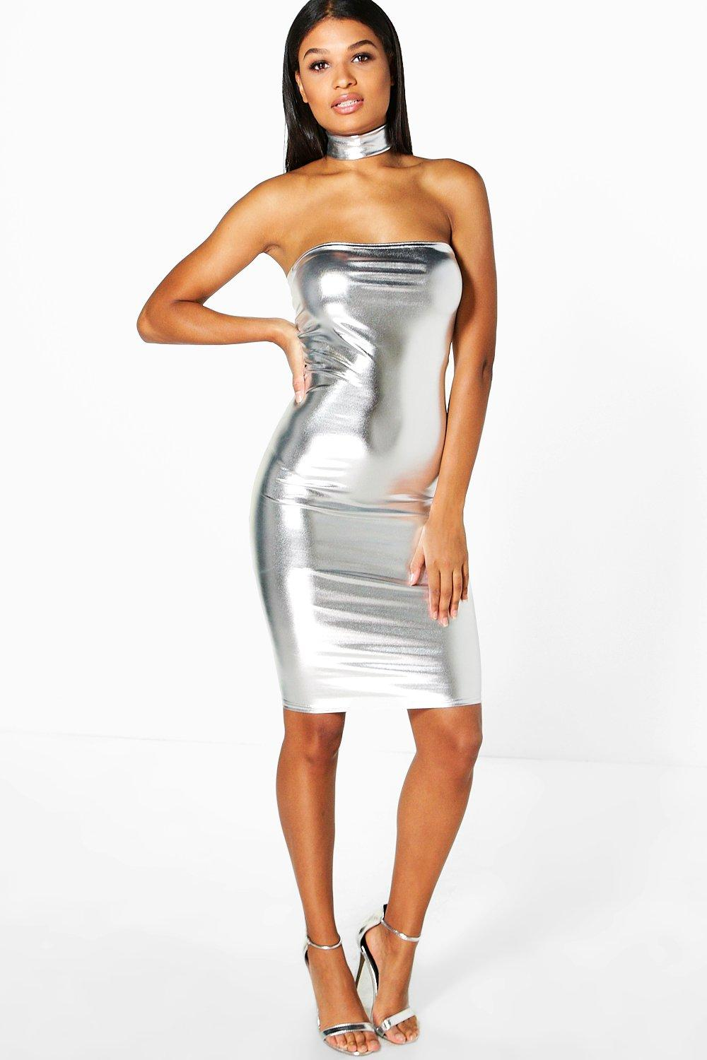 Amy Metallic Choker Midi Dress