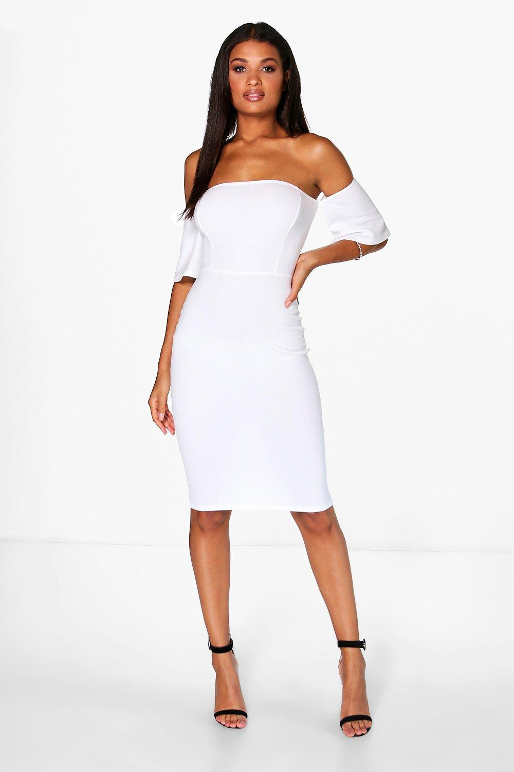 Zoe Off Shoulder Flute Sleeve Midi Dress