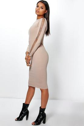 Heather Cut Out Sleeve Midi Dress
