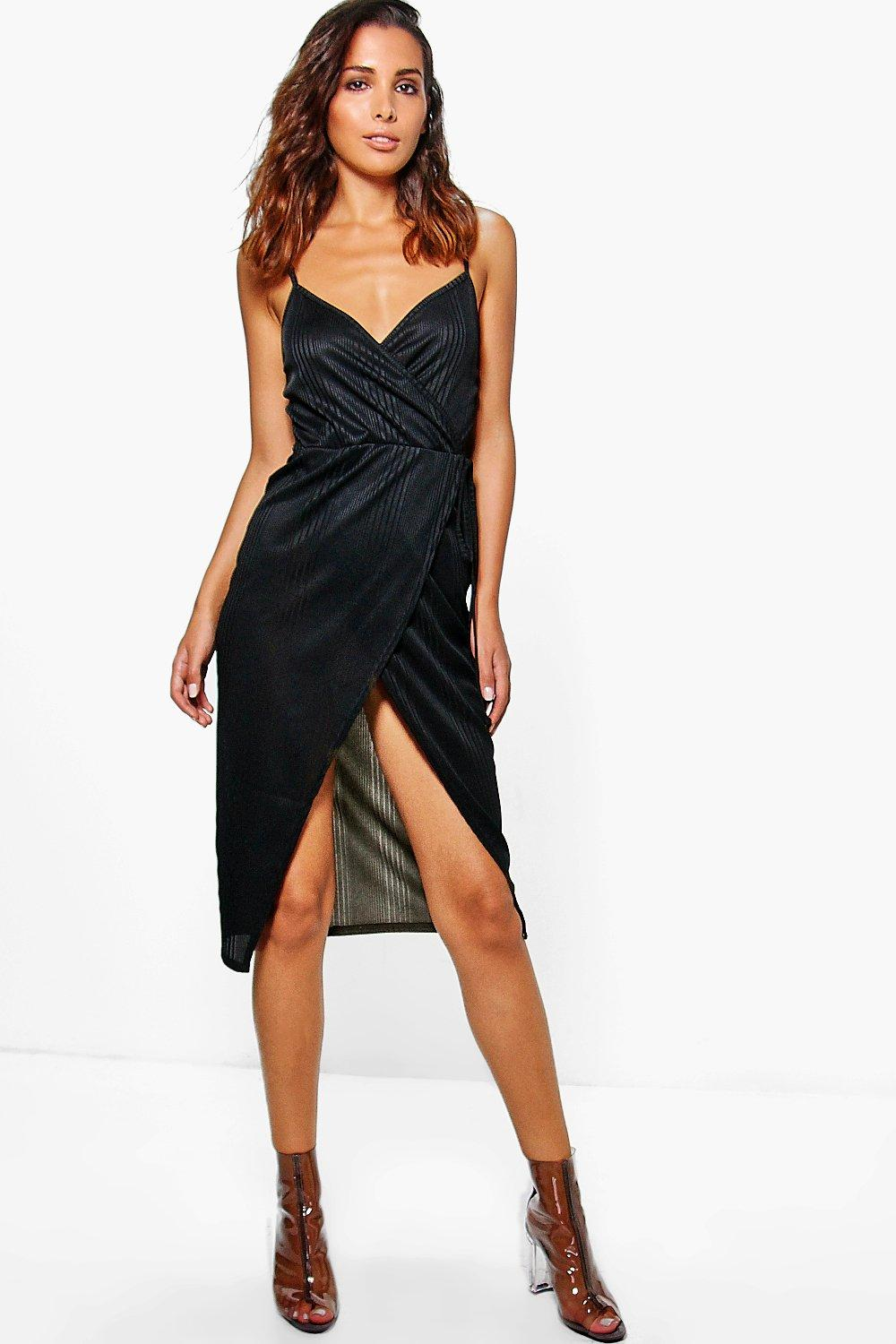 Beth Tie Wrap Ribbed Midi Dress