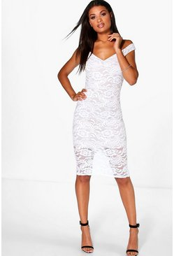 Lucy Sweetheart Lace Midi Dress