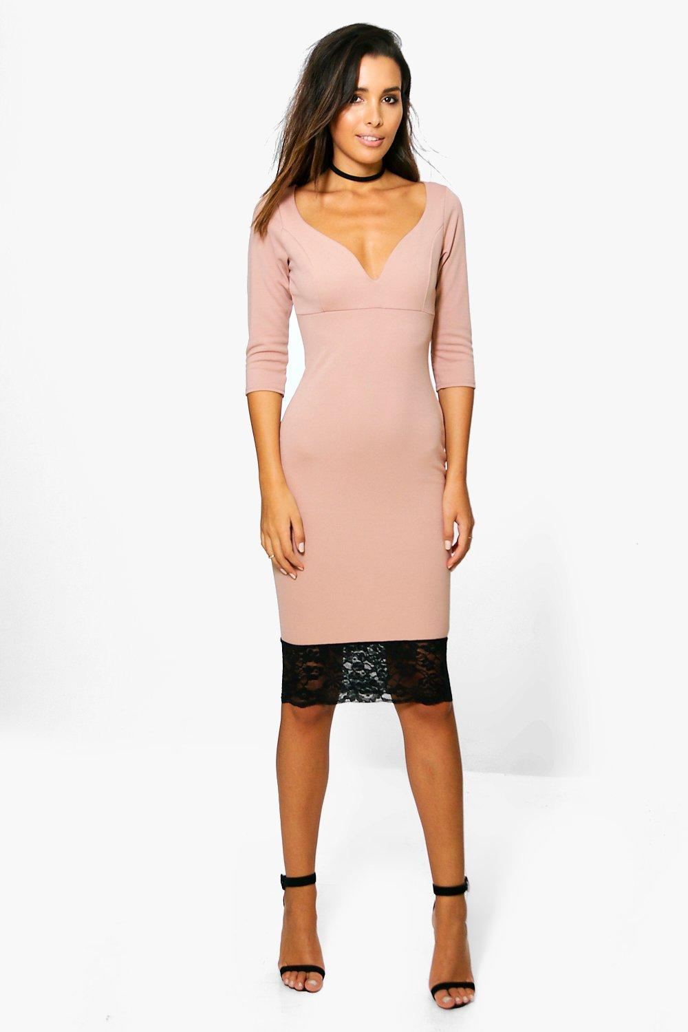 Emma Formal Plunge Lace Hem Midi Dress