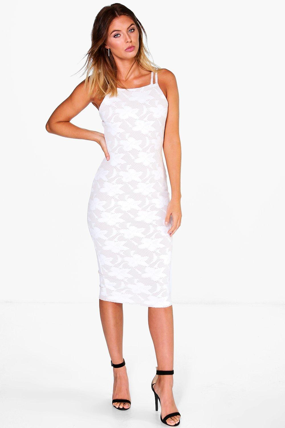 Lola Embossed Lace Midi Dress