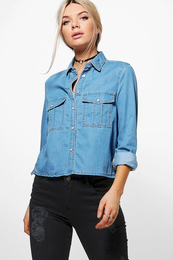 Betty Oversized Pocket Denim Shirt