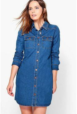 Aggy Long Sleeve Button Through Denim Dress